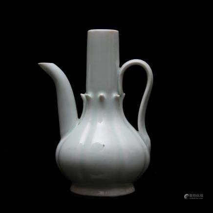 SONG DYNASTY, A YINGQING MELON-SHAPED PORCELAIN TEAPOT