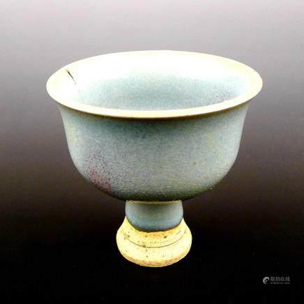 Yuan Dynasty Jun Kiln ceramic red glaze high heeled cup