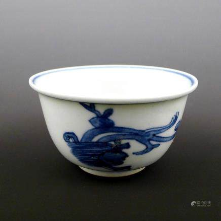 Late Ming Dynasty blue and white dragon wine glass