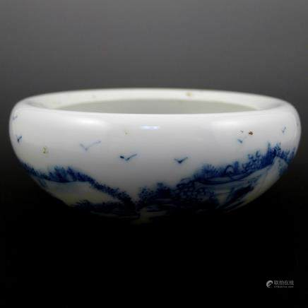 Late Qing Dynasty Blue and White Pen Wash