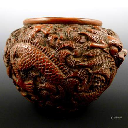 Qing Dynasty Carved Lacquerware with Dragon Pattern pot