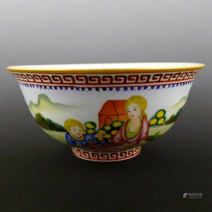 Qing Dynasty Yongzheng Enamel Color Character Bowl
