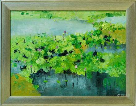 WU GUANZHONG, A CHINESE OIL 'LOTUS' PAINTING