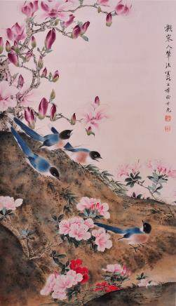 TIAN SHIGUANG, A CHINESE SCROLL INK AND COLOR PAINTING