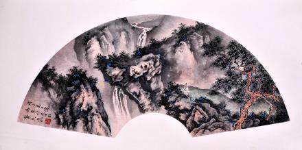 WU HUFAN, A CHINESE INK AND COLOR FAN LEAF PAINTING