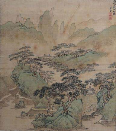 YANG JIN, A VINTAGE CHINESE INK AND COLOR PAINTING