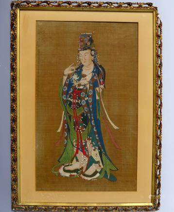 Mid Qing Dynasty Buddha Silk Painting (anonymous)