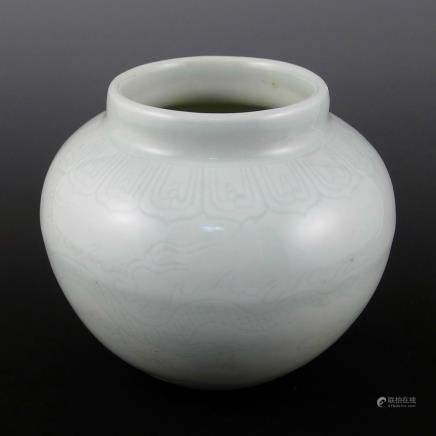 Ming Dynasty sweet white glaze dark carved dragon pot