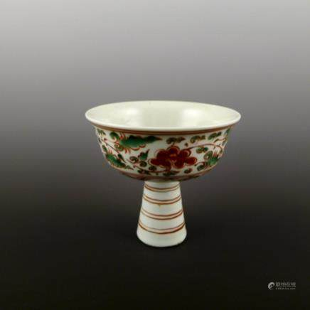 Yuan Dynasty red and green color high foot bowl