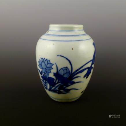 Early Qing Dynasty blue and white pot