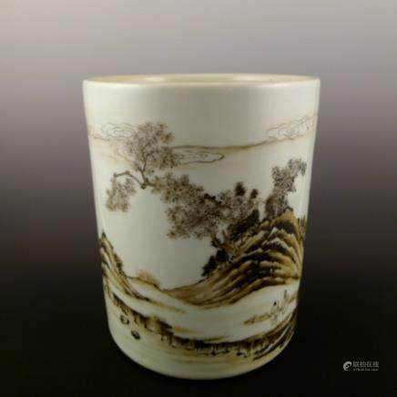 Qing Dynasty Kangxi landscape paint pen holder