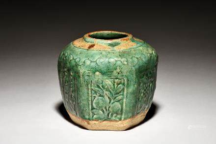 GREEN GLAZED JAR