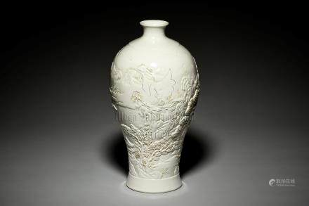 WHITE GLAZED AND CARVED 'LANDSCAPE SCENERY' VASE