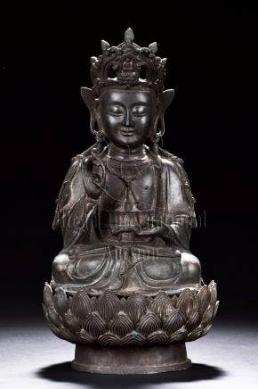 BRONZE CAST SEATED AVALOKITESHVARA FIGURE