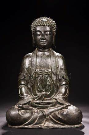 BRONZE CAST SEATED SHAKYAMUNI FIGURE