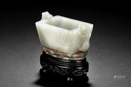 JADE CARVED CHILONG CUP WITH WOODEN STAND