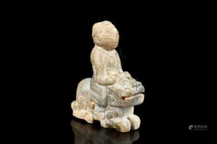JADE CARVED 'MAN ON TIGER' FIGURE