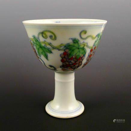 Ming Dynasty Doucai high heeled cup