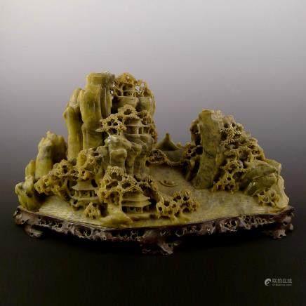 壽山石雕刻山子擺件
