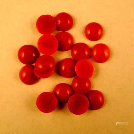 18粒紅珊瑚環面
