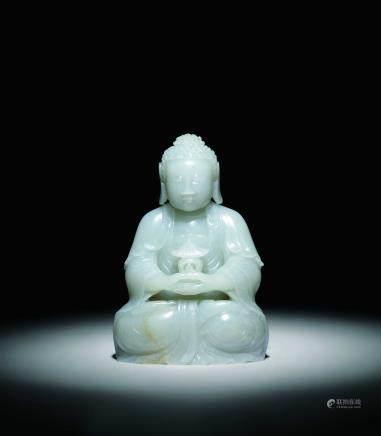 清 白玉坐佛像