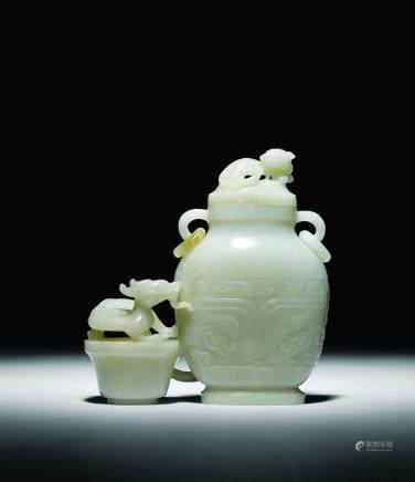 清 白玉螭龍紐連瓶