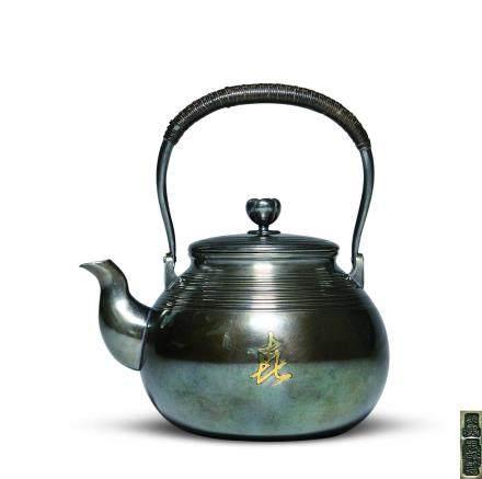 服部製 銀錯金壽喜茶壺