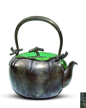 長翁齋秀壽 七寶燒柿形銀壺