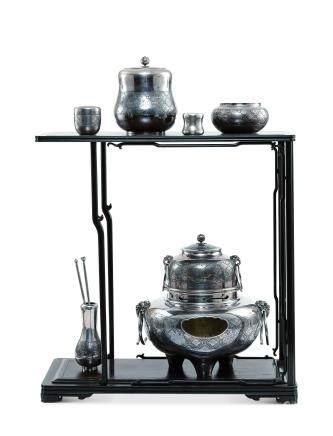 真水造 純銀茶具揃一式共七件