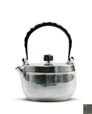 木村節三作 純銀打出湯沸