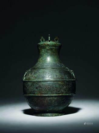 春秋 青銅夔龍紋蓋壺