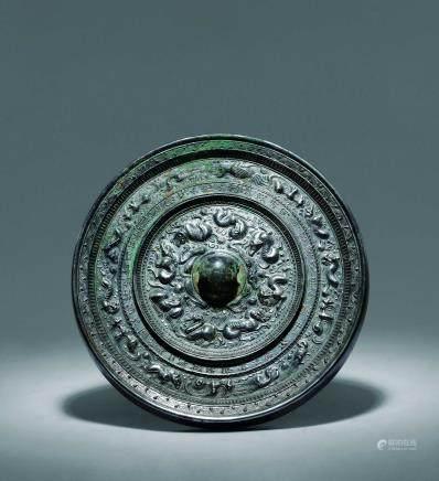 唐 鳳鳥獸紋大銅鏡