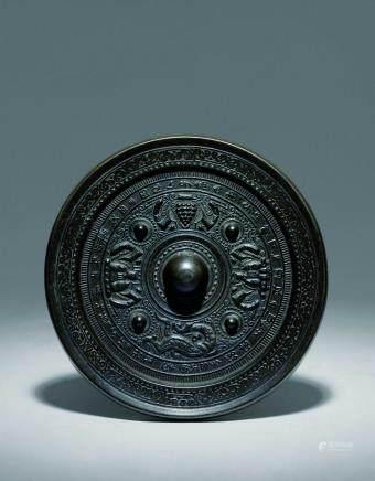 唐 青銅夔龍唐人鏡