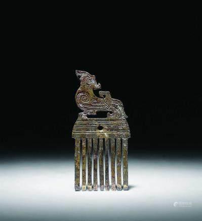 戰國 銅鎏金朱雀梳