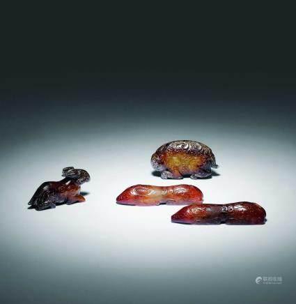 戰國 古代瑪瑙二件、古代玉飾二件