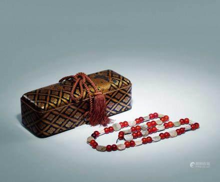 戰國 紅瑪瑙古玉項鏈一串