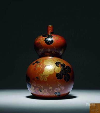 清嘉慶 褐漆描金萬代葫蘆酒瓶