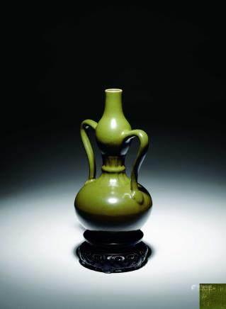 清乾隆 茶葉末釉綬帶葫蘆瓶