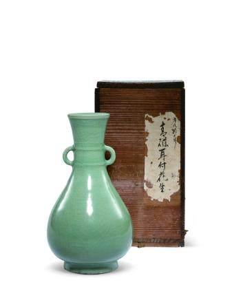 明初 青瓷雙耳花瓶
