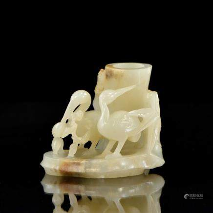 FINE CARVED CELADON JADE OF BAMBOO AND CRANES