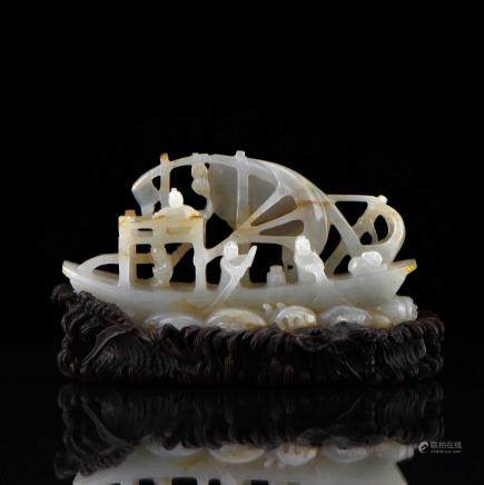 CARVED JADE OF SAIL BOAT ON STAND