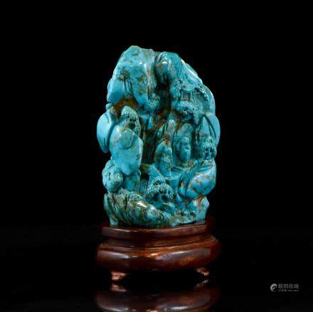 VERY FINE CARVED TURQUOISE RECUMBENT A BOULDER