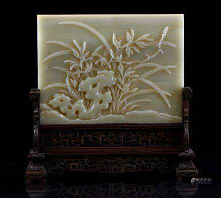 CARVED JADE ORCHID TABLE SCREEN