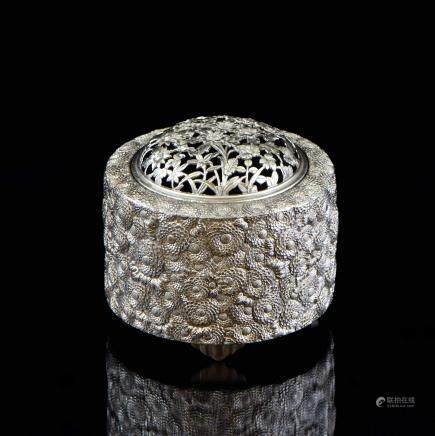 CHINESE SILVER FORAL MOTIF COVERED TRIPOD CENSER
