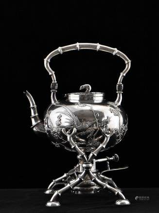 19/20TH C CHINESE EXPORT SILVER TEA KETTLE & BURNER