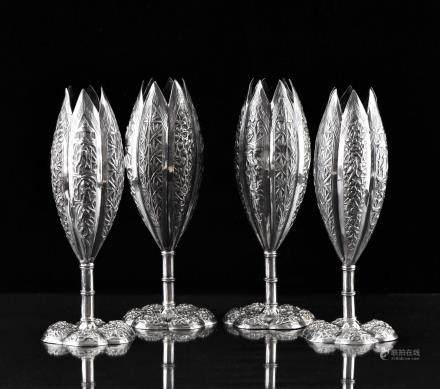 SET OF 4 CHINESE EXPORT SILVER CUPS