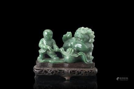 中國 十九世紀 玉雕童子像