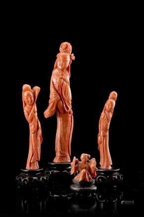 中國 二十世紀初 珊瑚仕女雕像 四件