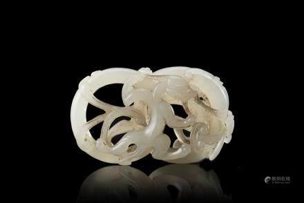 中國 二十世紀初 白玉雕螭龍