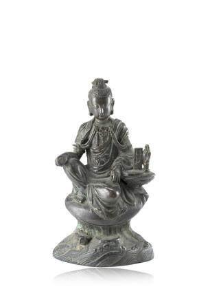 中國 十九世紀 銅雕觀音坐像